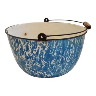 Old Large Blue & White Graniteware Bowl With Handle