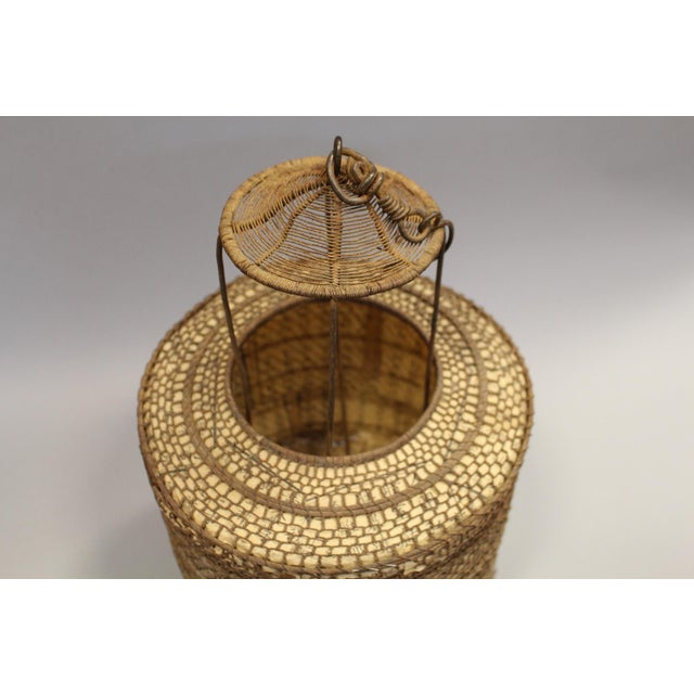 Woven Chinese Lantern With Rice Paper Interior - Image 4 of 6