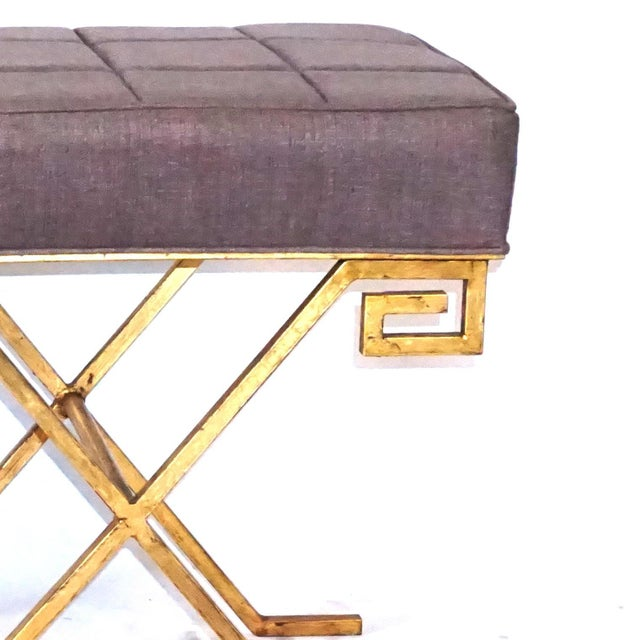 Art Deco 20th Century Gold Iron Stools After Jean Michel Frank - a Pair For Sale - Image 3 of 6