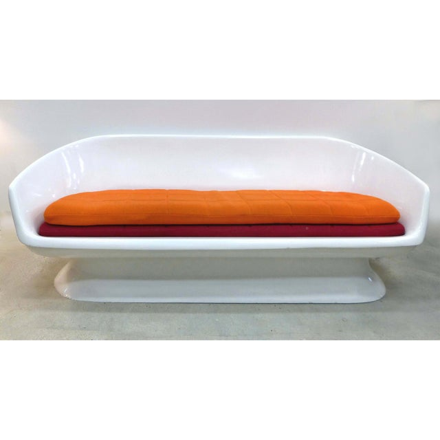 """Chromcraft Space Age Enameled Fiberglass Shell Sofa, circa 1960s Offered for sale is an American """"Space Age"""" enameled..."""