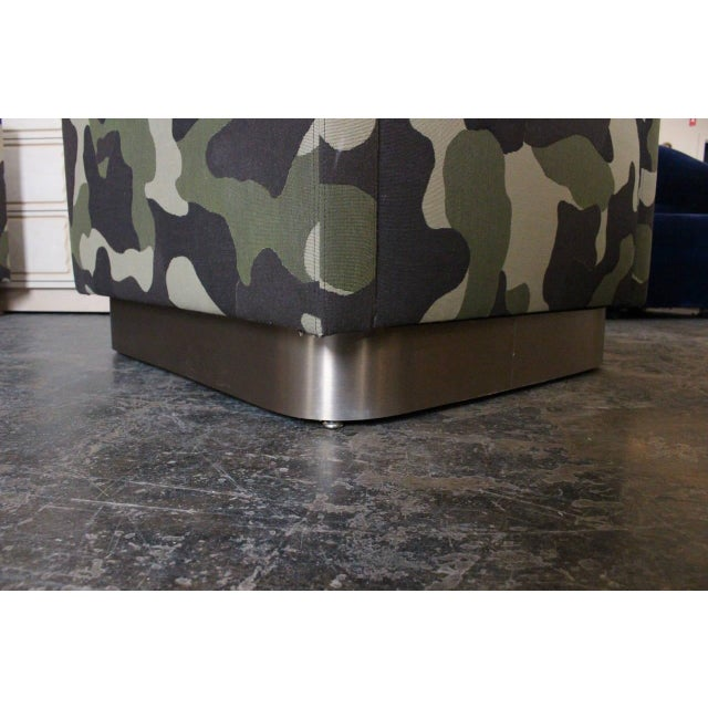 Camouflage Cube Chairs With Bronze Plith - Pair - Image 6 of 8