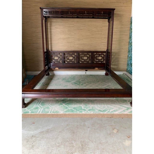 This gorgeous King Ming Chippendale bed is a showstopper! Frame has Ming feet and a canopy headboard with lights. Includes...