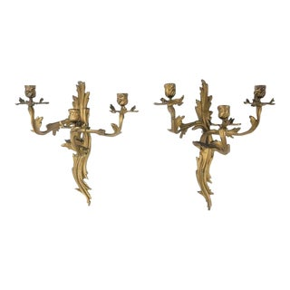 Pair of Antique 19th C Gilt Bronze Louis XV Style Candelabra Sconces For Sale