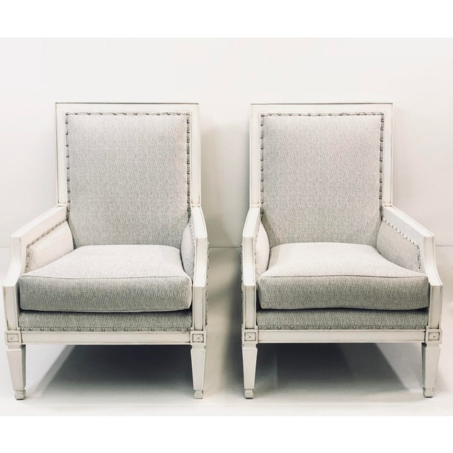 ContemporaryDrexel White Wood Accent Chair s - a Pair For Sale In Charlotte - Image 6 of 6