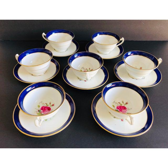 Elegant Vintage Rose Design English Bone China Set of 7 Tea/Coffee Cups & Saucers For Sale - Image 4 of 8