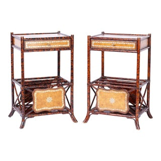 Faux Tortoise Bamboo Stands with Magazine Racks - A Pair For Sale
