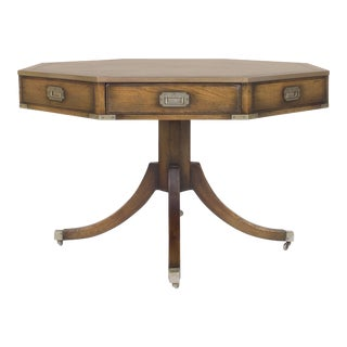 Vintage Campaign Style Center or Drum Table For Sale