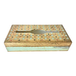 Vintage Florentine Gilt Wood Tissue Box For Sale