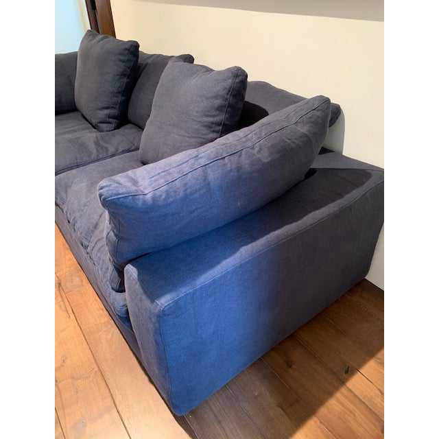 Restoration Hardware Navy Cloud 2 Seat Down Sofa For Sale - Image 12 of 13