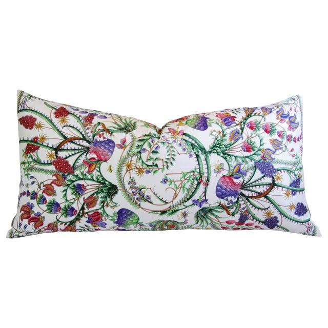 Designer Italian Gucci Floral Fanni Silk Pillow For Sale