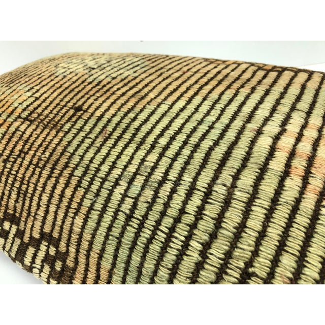 Nomadic Handmade Turkish Kilim Vintage Natural Lumbar Kilim Pillow Cover For Sale - Image 4 of 6