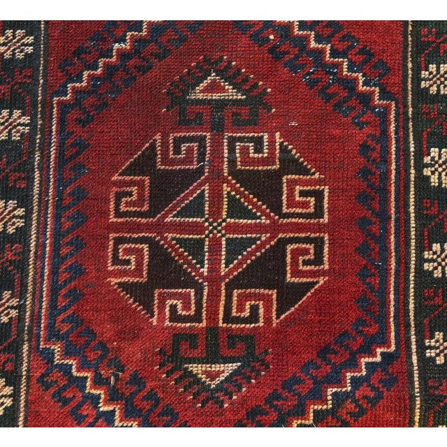 Islamic Vintage Distressed Hand-Tied Red Runner For Sale - Image 3 of 13