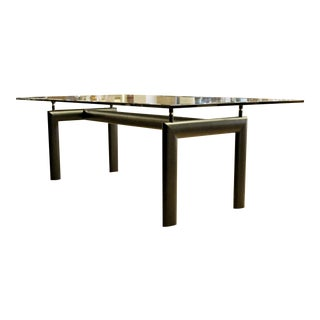 Mid Century Modern Le Corbusier Black Lacquered Metal Glass Dining Table 1970s For Sale