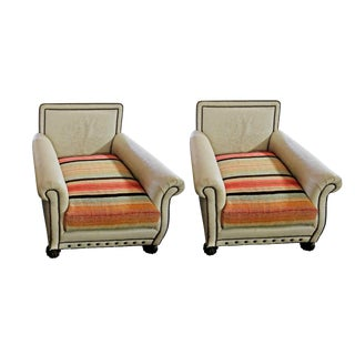 Late 20th Century White & Colorful Striped Leather Armchairs - a Pair