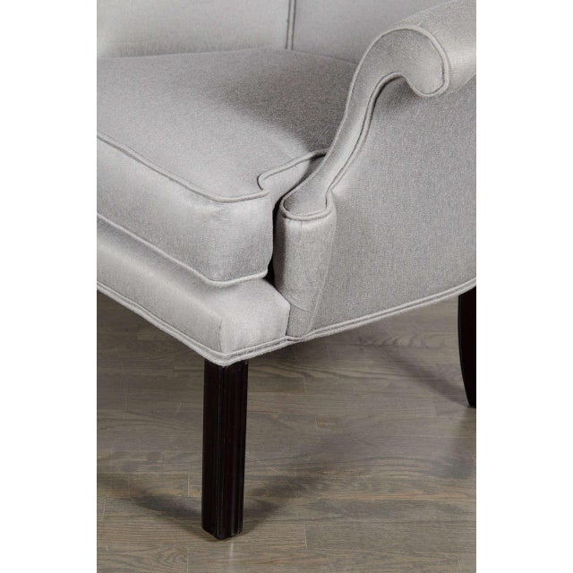 Glamourous Pair of Hollywood Scrolled Arm Chairs with Button Back Detailing For Sale - Image 4 of 7
