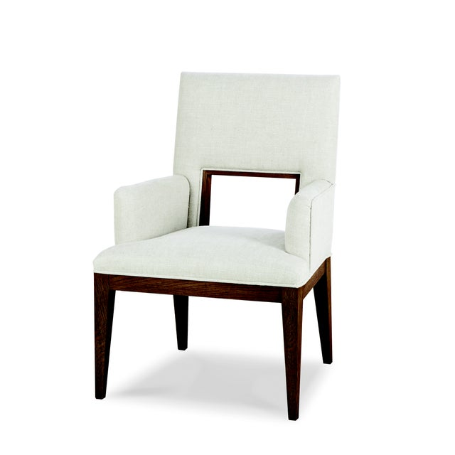 Contemporary Century Furniture Casa Bella Upholstered Dining Arm Chair - Sierra Finish For Sale - Image 3 of 3