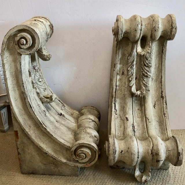 Rustic Antique Large Classical Wood Carved Painted Corbels, A-Pair For Sale - Image 3 of 13