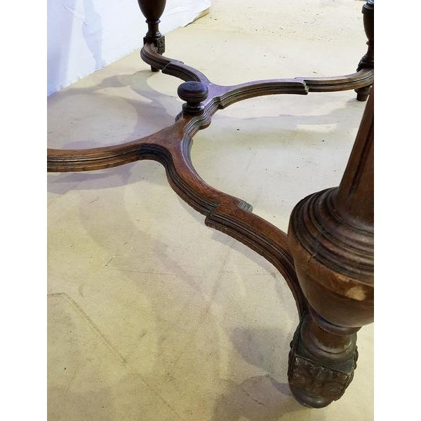 Brown Rectangular Carved Antique French Jacobean Style Oak Dining Table For Sale - Image 8 of 12