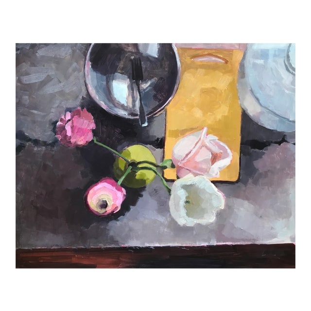 """Kitchen Still Life with Fork & Bowl"" Original Oil Painting For Sale"