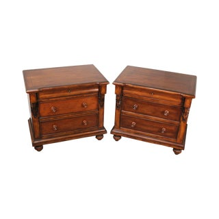Empire Style Mahogany Pair 3 Drawer Chest Nightstands For Sale