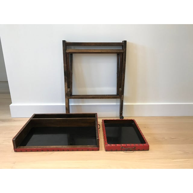 Vintage Leather & Wood Two-Tray Table - Image 4 of 6