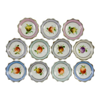 Porcelain Nut Candy Dishes Fruit Design - Set of 11 For Sale