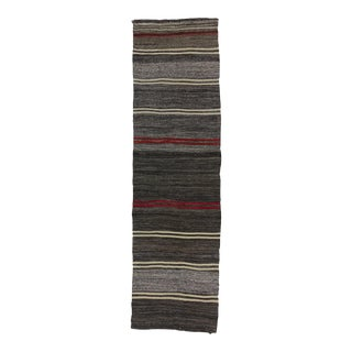 Handwoven vintage red black and gray striped Turkish kilim runner rug For Sale