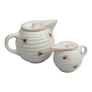 Czechoslavakian Art Deco Teapot and Creamer Set - 2 PC. For Sale