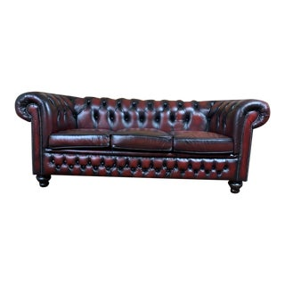 Vintage Mid-Century English Leather Chesterfield 3 Seat Sofa, Oxblood For Sale