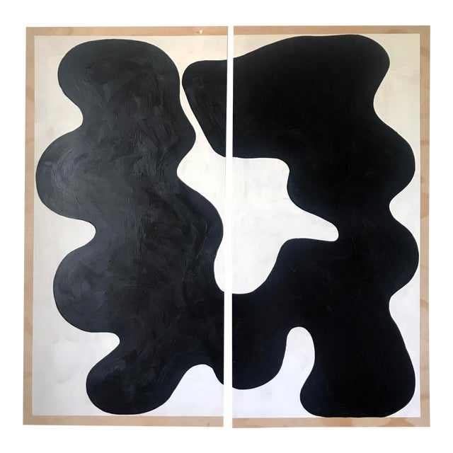 Contemporary Diptych Oversized Abstract Acrylic Painting For Sale