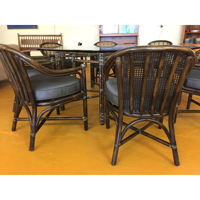 1970s McGuire Octagonal Bamboo and Glass Dining Table and Matching McGuire Rattan Chairs -Set of 8 For Sale - Image 5 of 13