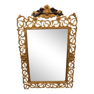 Antique French Dore Bronze Mirror W Ebonized Angels For Sale