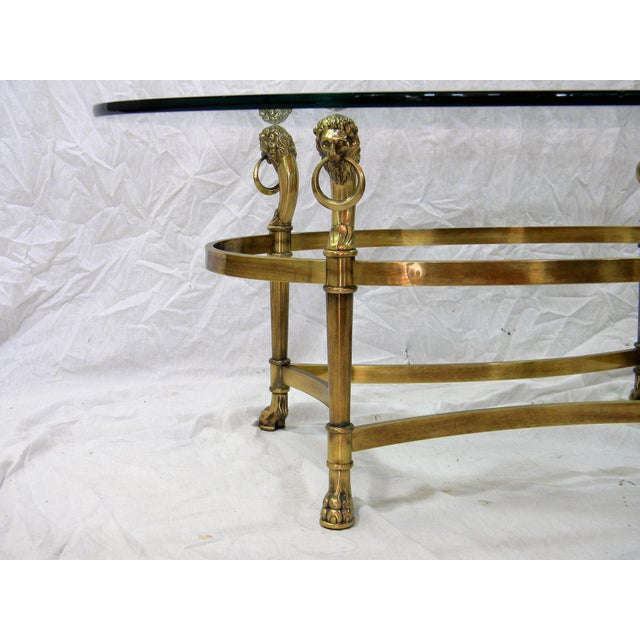 Vintage Brass Lion Head Cocktail Table For Sale - Image 4 of 7