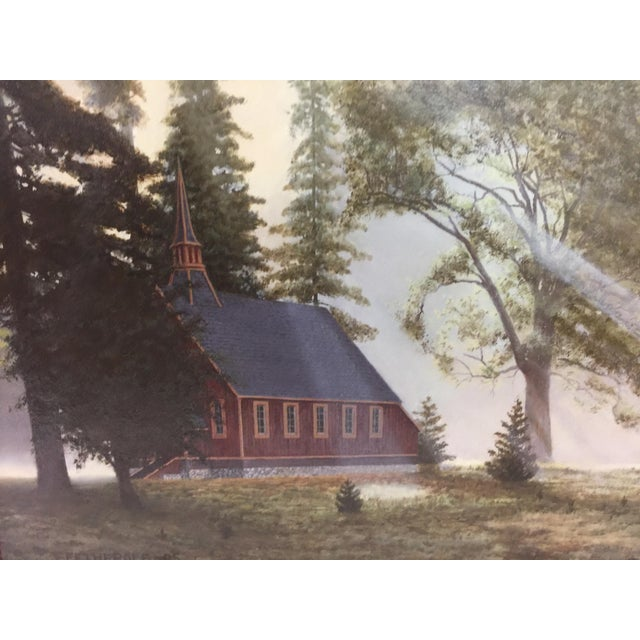 Impressionism Fetherolf Oil Painting Little Red Church Yosemite For Sale - Image 3 of 7
