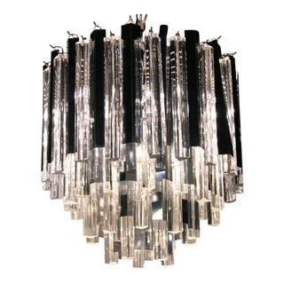 Camer Chromed Steel Fin & Glass Rod Chandelier