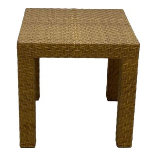 Hollywood Regency Oscar Dela Renta Cane and Wood End Table For Sale