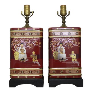Frederick Cooper Tea Tin Lamps - a Pair