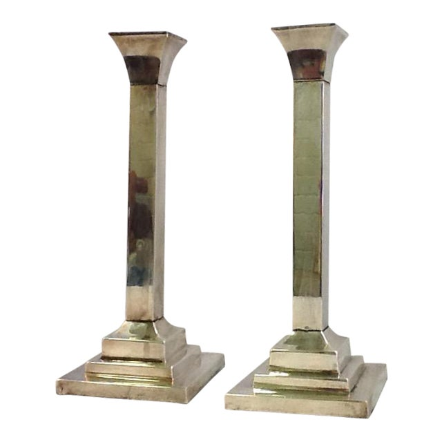 Vintage Silver Plate Candle Holders - Pair - Image 1 of 6