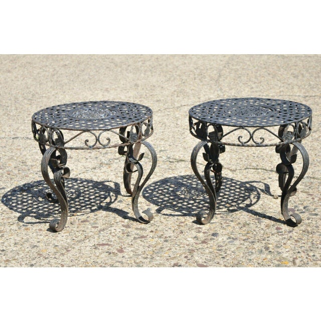 French Art Nouveau Style Wrought Iron Lattice Top Round Side Tables - a Pair For Sale - Image 11 of 12