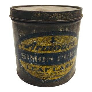 Vintage Armours Simon Pure Leaf Lard Tin Can For Sale