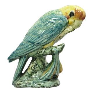 """Stangl Art Pottery Bird Paroquet Parrot Parakeet 5.5"""" Figurine Green Yellow For Sale"""