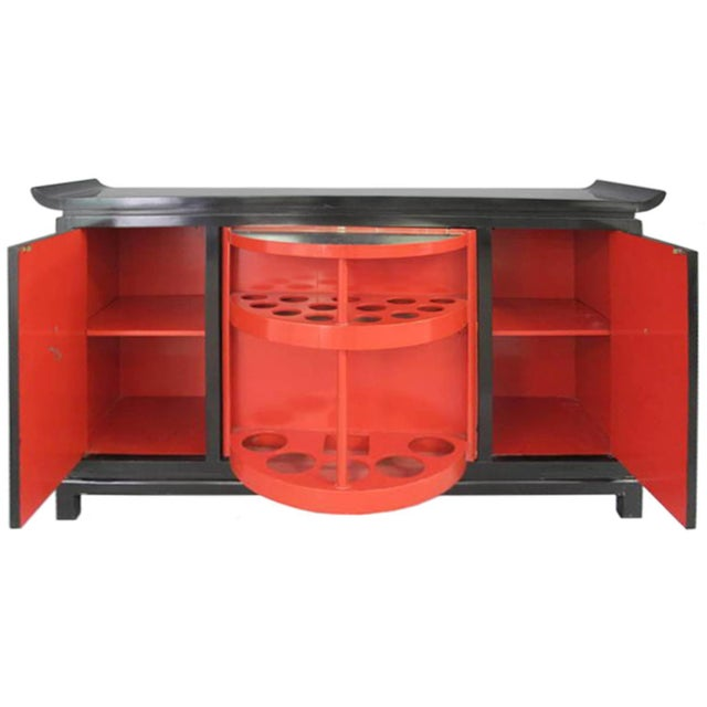 Mid-Century Modern James Mont Signed Pagoda Top Bar Cabinet For Sale - Image 3 of 7