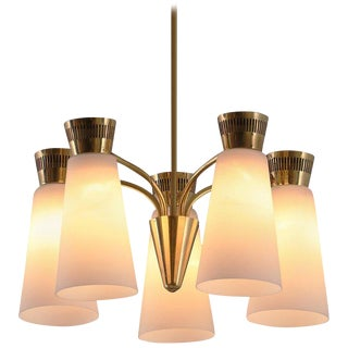 1950s Mauri Almari for Itsu, Finland Five-Glass Brass Chandelier For Sale