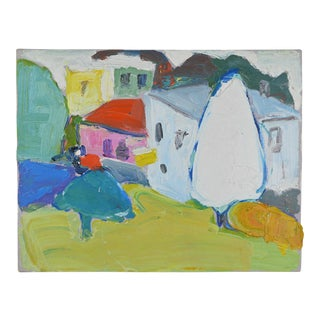 20th Century Abstract Oil on Canvas Landscape Painting For Sale