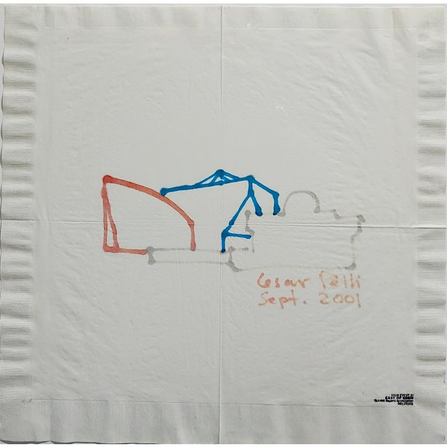 Abstract La Pacific Design Center Architect Napkin Sketch by Cesar Pelli For Sale - Image 3 of 9