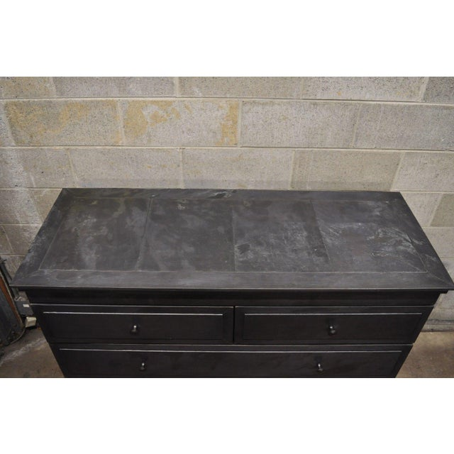 Early 21st Century Restoration Hardware Annecy Metal Wrapped Zinc A 5 Drawer Chest Dresser For Sale - Image 5 of 11