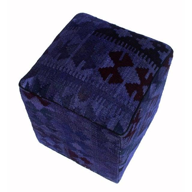 Shabby Chic Retro Demetria Purple/Dark. Gray Kilim Upholstered Handmade Ottoman For Sale - Image 3 of 8