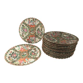 Antique Chinese Qing Period Rose Medallion Porcelain Dinner Plates - Set of 12 For Sale