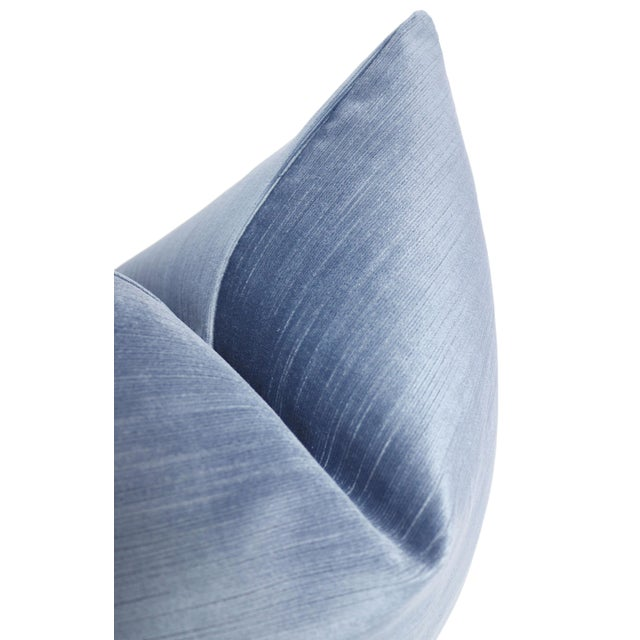 """22"""" Strie Velvet Chambray Pillows - a Pair For Sale - Image 4 of 5"""