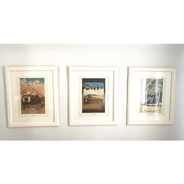 Japanese Framed Japanese Woodblock Reproduction Prints After Kawase Hasui - Set of 3 For Sale - Image 3 of 13